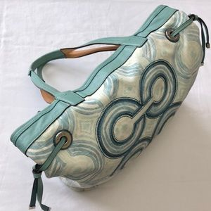 COACH Blue Green Audrey Swirl Tote Bag